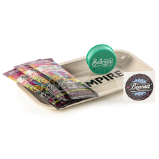"5 Item Bundle - Hempire 10"" x 7"" Metal Rolling Tray + 3 Packs of Beamer Hemp Wraps + Beamer 3-Piece 63mm Acrylic Grinder"