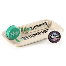 "5 Item Bundle - Hempire 10"" x 7"" Metal Rolling Tray + 3 Packs of Hempire King Size Rolling Papers + Beamer 3-Piece 63mm Acrylic Grinder"