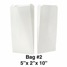 #2 Size Flat Bottom White Color Paper Bag - 500-Ct Bulk Box