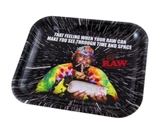 "Raw Large Metal Rolling Tray, Oops Design - 14"" x 11"""