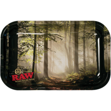 "Raw Large Metal Rolling Tray, Forest Design - 14"" x 11"""
