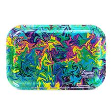 "Beamer Medium Metal Rolling Tray, Dark Trippy Design - 10.75"" x 6.25"""