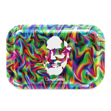 "Tommy Chong Medium Metal Rolling Tray, Trippy Chong Design - 10.75"" x 6.25"""