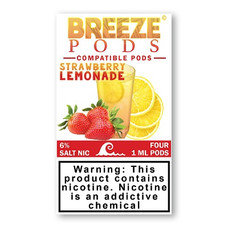 Breeze Pods Juul Compatible 1.0ml Pod, 6% Nicotine Strength - Strawberry Lemonade Flavor