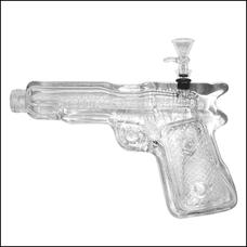 "10"" Soft Glass Pistol Clear Color Bong"