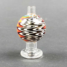 Glass Directional Flow Carb Cap, 26mm Diameter - Wig Wag Design with Clear Glass