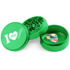 Beamer - Aircraft Grade Aluminum Grinder W/ Guitar Pick - 3-Piece - 63mm - Extended Collection Chamber - I Heart Joint Design - Green Color