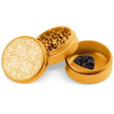 Beamer 3-Piece 63mm Aluminum Grinder w/ Extended Collection Chamber - Trippy Jewels Design (Gold)
