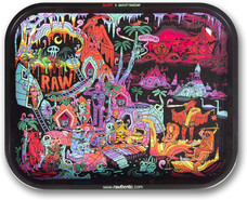 "Raw Large Metal Rolling Tray - Ghost Shrimp #2 Design - 13.38"" x 10.88"""