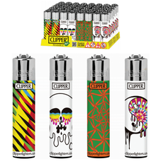 Clipper Psychedelic Collection Lighters - Psychedelic 10 Mixed Colors/Designs