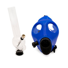 "Adjustable Strap Gas Mask with Attachable 12"" Clear Acrylic Bong"