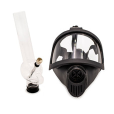 "Adjustable Strap Gas Mask with Attachable 12"" Clear Acrylic Bong - B Style"