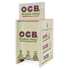 OCB Rolling Papers Display Stand with Organic Rolling Papers Included - Single Wide Size, 1 ¼ Size, and King Size Slim