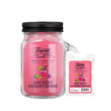 Aunt Suzie's Raspberry Lemonade 4oz Mini Aromatic Home Series Candle & Wax Drop Bundle