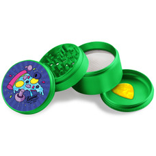 Beamer - Aircraft Grade Aluminum Grinder W/ Guitar Pick - 4-Piece - 63mm - Extended Middle Chamber - Mushroom Pizza Design - Green Color