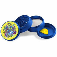 Beamer - Aircraft Grade Aluminum Grinder W/ Guitar Pick - 4-Piece - 63mm - Extended Middle Chamber - 70's Lovin' Design - Blue Color