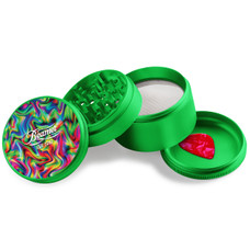Beamer - Aircraft Grade Aluminum Grinder W/ Guitar Pick - 4-Piece - 63mm - Extended Middle Chamber - Psychedelic Haze Design - Green Color