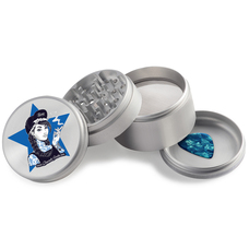 Beamer - Aircraft Grade Aluminum Grinder W/ Guitar Pick - 4-Piece - 63mm - Extended Middle Chamber - Beamer Girl Design - Silver Color