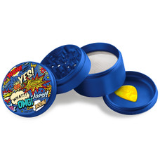 Beamer - Aircraft Grade Aluminum Grinder W/ Guitar Pick - 4-Piece - 63mm - Extended Middle Chamber - Comic Book Design - Blue Color