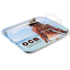 "OCB Large Metal Rolling Tray, Beach Design - 14"" x 11"""