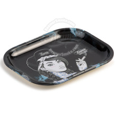 "Beamer Small Metal Rolling Tray, Beamer Girl Design - 7"" x 5.5"""