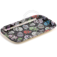 "Beamer Medium Metal Rolling Tray, Sugar Skull Design - 10.75"" x 6.25"""