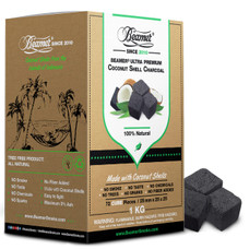 Beamer Premium Coconut Shell 100% Natural 1kg (2.2lb) Charcoal - 72 Count Cube