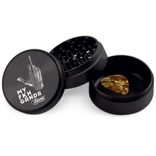 Beamer 3-Piece 63mm Aircraft Grade Aluminum Grinder W/ Scraper - Extended Collection Chamber - Middle Finger Design