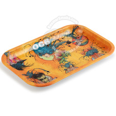 "OCB Small Metal Rolling Tray, Ring of Fire Design - 7.5"" x 5.5"""