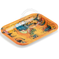 "OCB Medium Metal Rolling Tray, Ring of Fire Design - 11.5"" x 7.5"""