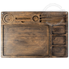 "Beamer Goliath All-in-One Bamboo Rolling Tray, Dark Finish - 21"" x 15"""