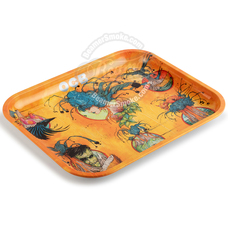 "OCB Large Metal Rolling Tray, Ring of Fire Design - 14"" x 11"""