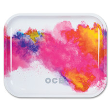 "OCB Large Metal Rolling Tray, White Holi Design - 14"" x 11"""