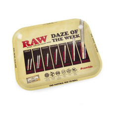 "Raw Large Metal Rolling Tray, Daze of the Week Design - 14"" x 11"""