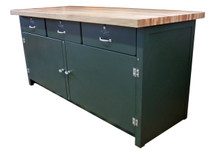 3 Drawer Cabinet Workbench with Maple Wood Top