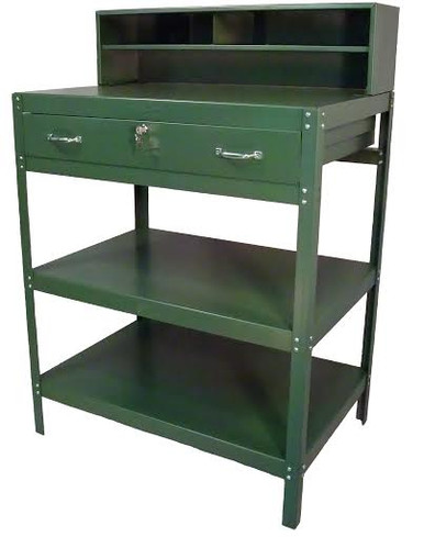 This Dispatch Desk is Great for the Workplace in Any Shop or Garage.  The Drawer Can Be Locked to Ensure Private Papers and Items.  There is Plenty of Storage with the 2 Bottom Trays and the Unit Has the Option to Come with Non-Marring Leveler Glides or Dual Swivel Castors with Brakes.  Unit Comes with a Lifetime Structural Warranty.