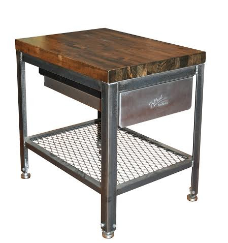 Steel Wood End Table