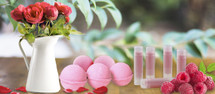 Raspberry Lip Balms & Rose Bath Boms