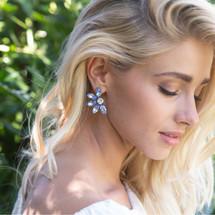 Blue Sapphire Daisy Crystal Earrings (E4264)-$139