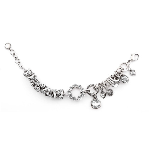 Hypnotic Burnished Silver Charms and Swarovski Crystal Bracelet