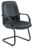 Canasta Black Faux Leather Office Visitor Meeting Chair (CT)