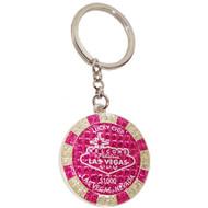 LV Pink Glitter Poker Chip Keychain