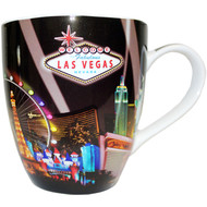 Large Las Vegas Mug souvenir Black Spotlights - 18oz.