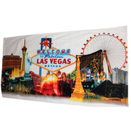 Las Vegas Souvenir Beach Towel- White Skyline
