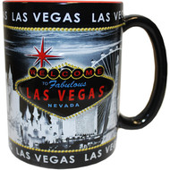 "LV Souvenir Mug ""Embossed Design"" - Gray Skyline 16oz."