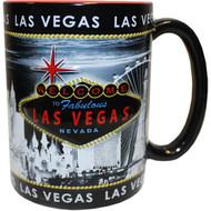 """LV Souvenir Mug """"Embossed Design"""" - Gray Skyline 16oz."""