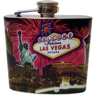 Las Vegas Fireworks Collage Flask