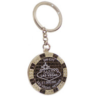 LV SIN CITY Glitter Poker Chip Keychain