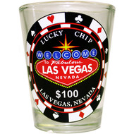 Las Vegas Shotglass Lucky Chip $100