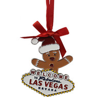 Las Vegas Gingerbread Man Metal Christmas Ornament